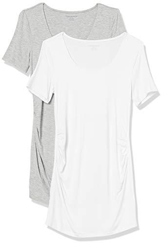 Amazon Essentials Maternity 2-Pack Short-Sleeve Rouched Scoopneck T-Shirt Camiseta, Gris Claro Mezcla/Blanco, M