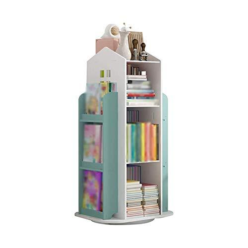 Ruedas de almacenamiento de libros para niños Estantería simple, Estantería para niños de dibujos animados para el hogar, Estante de almacenamiento de juguetes de jardín de infantes, Estante girator