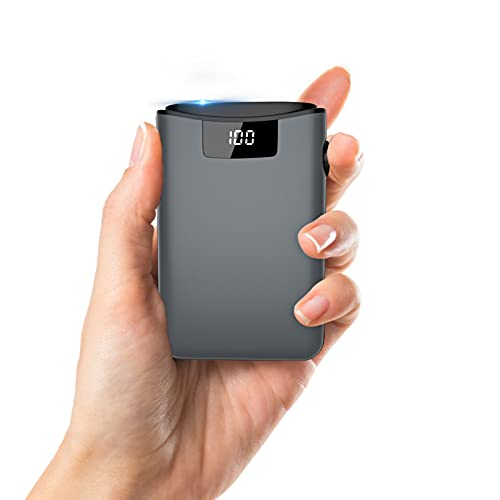 Powerbank 10000mAh Caricabatterie Portatile, LED Digitale Display, con 3 ingressi e 2 uscite, Ultra-Compact Mini Batteria Esterna Carica Veloce Batteria Portatile iPhone, Huawei, Smartphone (Nero)