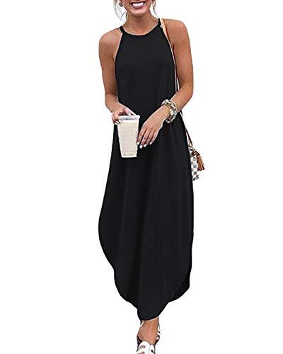 CNFIO Sommer Maxi Kleider Damen Elegant Blusenkleider V-Ausschnitt Ärmellos Einfarbig Strickkleid Strand Kleider