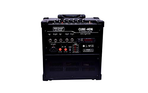 MEDHA D.J. PLUS Portable Rechargeable PA Amplifier Cube-40DX with Speaker, FM, Bluetooth and USB Player