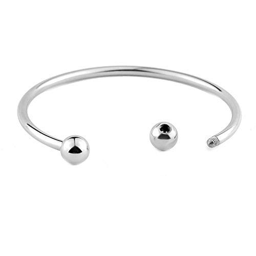 RUBYCA 10pcs White Silver Plated Bangle Bracelet Screw End Ball Cuff Charm Beads DIY Jewelry