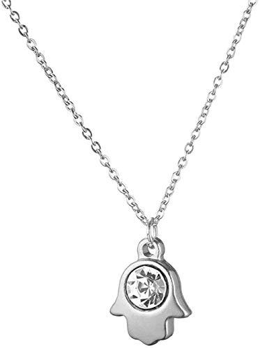 N-G Collares con Colgante de Mano de Fátima de Cristal Transparente de Acero Inoxidable para Mujer, joyería de Moda de 50cm