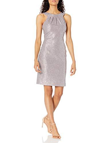 Eliza J Women's Sleeveless Halter Neck Foiled Knit Dress Cocktail, Grey, 14