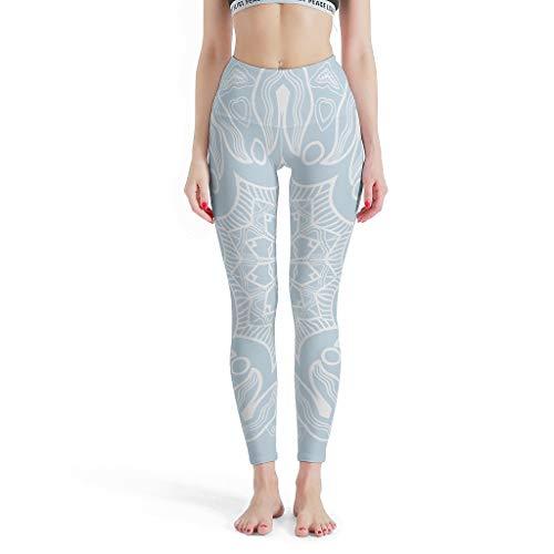 O2ECH-8 Damen Patternen Yoga Leggings Weich Atmungsaktiv High Waist Helles Cyan-Mandala Hose Sport Fitness Formende Leggings Damen - White l