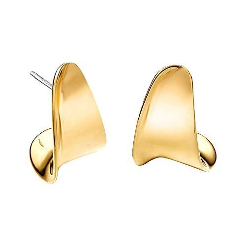 YFZCLYZAXET Pendientes Mujer Pendientes De Botón De Aguja De Plata 925 Hebillas De Oreja Chapadas En Oro Simples Huesos De Oreja De Moda Huesos De Oreja De Oreja De Moda-Oro Grande