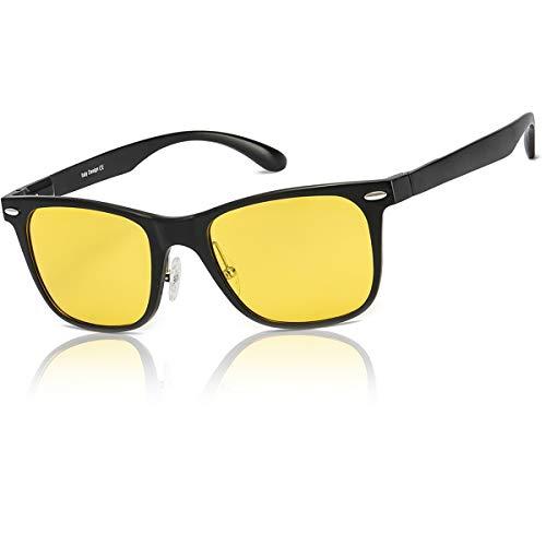 LVIOE Lunette de Conduite Vision de Nuit Nocturne -Cerclées Métal Monture Anti Eblouissement Polarisée - UV400 Protection (Noir)