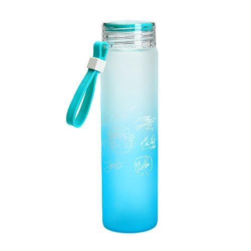 Kingmia KPOP Bangtan Boys Wasserflasche Sommer Gradienten Milchglas Zitrone BPA Freie Glasflasch (Grn)