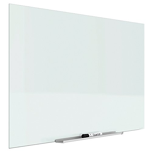 "Quartet Glass Dry Erase Board, Whiteboard / White Board, Magnetic, 74"" x 42"", White Surface, Frameless, InvisaMount (G7442IMW)"