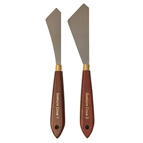 Painting Knife Set of 2 - Two Palette Knives - Wood Handle and Steel Blade (2) - Straight Edge Gentle Flex for Art and Paint