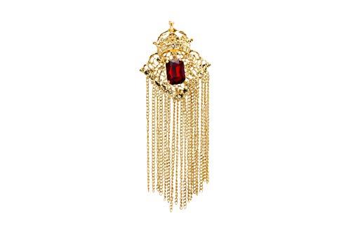 Chevalière couronnée de pierre rouge profond avec travail abstrait et chaîne de suspension, revers épingle, costume de mariage, fête, collier, accessoires pour homme