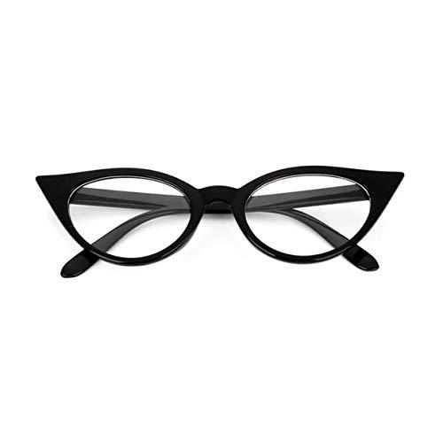 camellia® Vintage Cat Eye Design Frauen PC Brillen Brillengestell Classic Plain rror Eyewear Brillengestell Myopie Rahmen (hell schwarz & weiß)