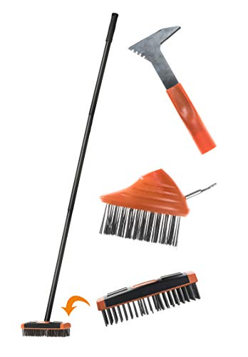 Brackit 3-in-1 Patio & Paving Weed Brush Scraper Set - 3 Interchangeable Heads -Easily Remove Weeds and Moss from your Garden, Patio or Driveway