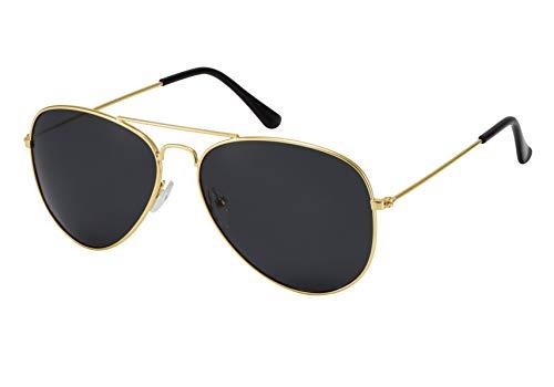 La Optica B.L.M. Herren Sonnenbrille Damen UV400 Retro Pilotenbrille Fliegerbrille 70er Jahre Groß - Gold Farben (Gläser: Grau Polarisiert)