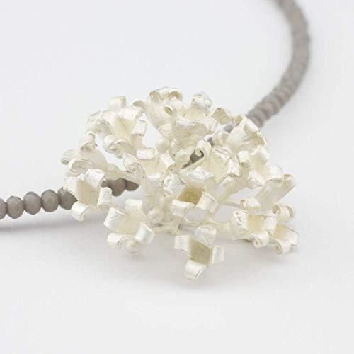 Halskette 925 Silber Anhänger ausgefallener Blüten-Schmuck