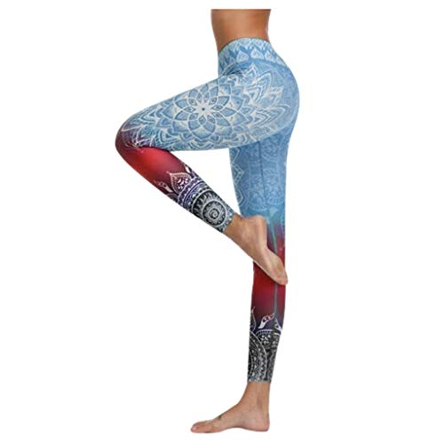 NEEDRA Yogahosen FüR Damen, Damen Blumen Print Leggings Fitness Sport Laufen Yoga Athletic Pants Yoga Taschen Leggins Tights Fitness Lange