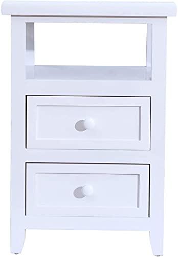 Mesa auxiliar, totalmente montada, mesita de noche con 2 cajones, totalmente montada, para dormitorio, salón y baño, color blanco