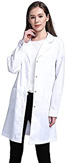 Icertag Camice Bianco da Laboratorio Donna, Medico Cappotto, Camice per Le Donne, Camice Bianco per Le Signore, Adatto per...