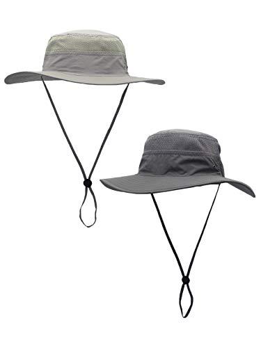 WANYING 2 Stücke Damen Herren Outdoor Bucket Hut Fischer Hut mit Kinnband Atmungsaktiv Schnelltrocknend Sonnenschutz - für Kopfumfang 60-63cm Hellgrau & Dunkelgrau