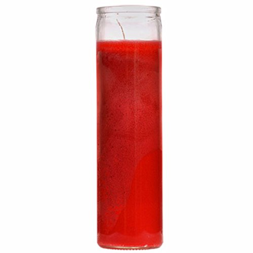Red 7 Day Unscented 1 Color Candle in Glass