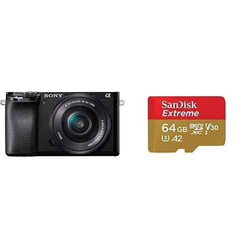 Sony Alpha 6100 - Cámara Evil APS-C con Objetivo Zoom Potente Sony 16-50mm f/3.5-5.6 + SanDisk Extreme - Tarjeta de Memoria microSDXC de 64GB con Adaptador SD, A2, hasta 160MB/s, Class 10, U3 y V30