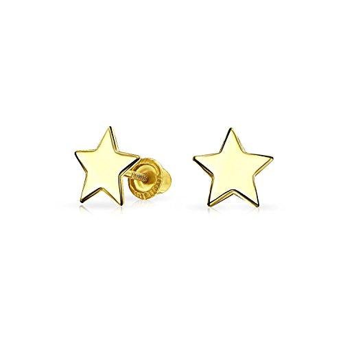 Minimalista Real Amarillo 14K Oro Screwback Grabado Alfabeto Iniciales Solid Star Stud Pendientes Para Mujeres Adolescente Novia