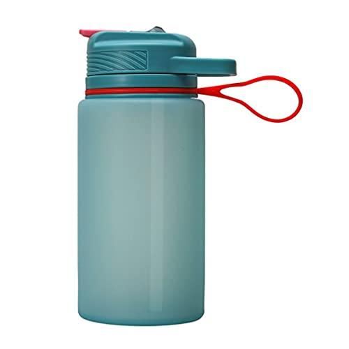 CandyT Botella Deportiva de Silicona con asa, Deportes al Aire Libre de Gran Capacidad, Taza de Agua Plegable portátil, Taza de Paja de Viaje (Rosa 13,6 cm * 9,3 cm * 21,2 cm)