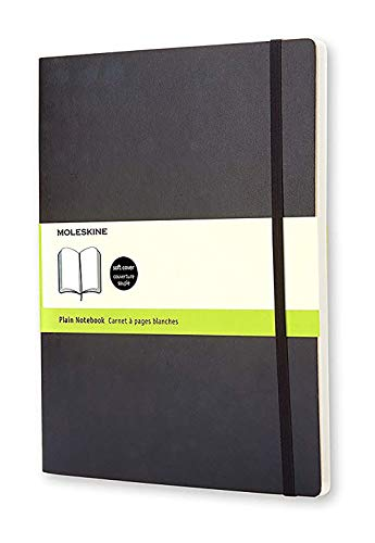 Moleskine Classic Notebook, Soft Cover, XL (7.5' x 9.5') Plain/Blank, Black, 192 Pages
