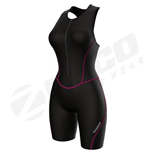 Zimco Performance Triathlon Suits Women | Triathlon Suit Women Padded | Tri Suit Women with Bra Support (Pink Seams, Small)