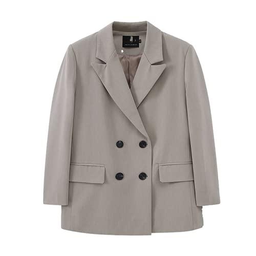 Chaqueta larga para mujer con doble botonadura para traje suelto y oversize abrigo sólido