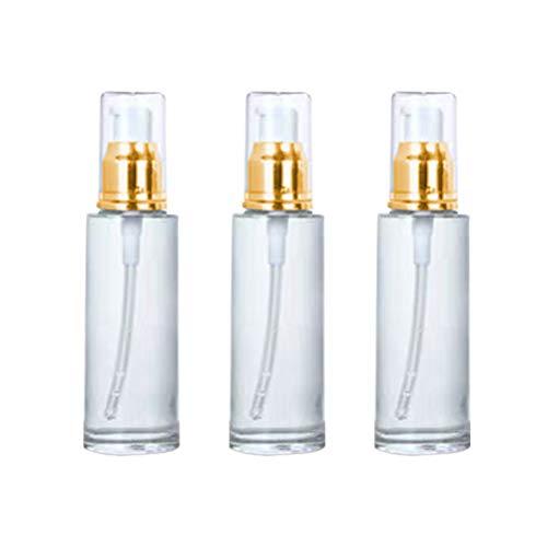 3pcs Pompe Vide Bouteille de Bouteilles cosmétiques Bouteille d'huile Essentielle Bouteilles vides Bouteille de Pompe Portable (Or et Blanc 60 ML)