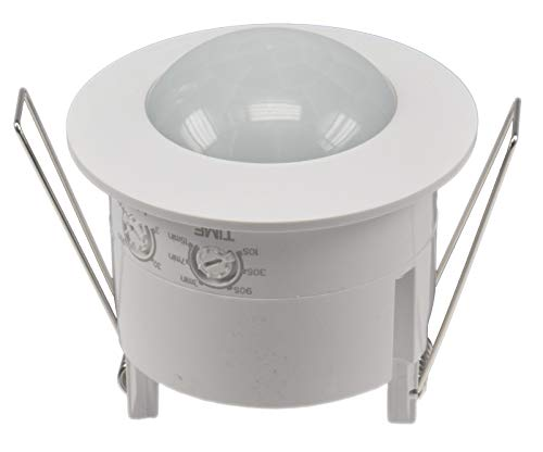 Decken Bewegungsmelder 360° Erfassung 6m Reichweite LED geeignet Ø 60-68mm Einbau Sensor für Wand und Decke Dämmerung Einstellbar Weiß