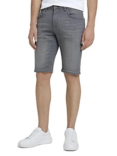TOM TAILOR Herren 1026075 Josh Slim Denim Bermuda Shorts, 10218-Used Light Stone Grey, 32