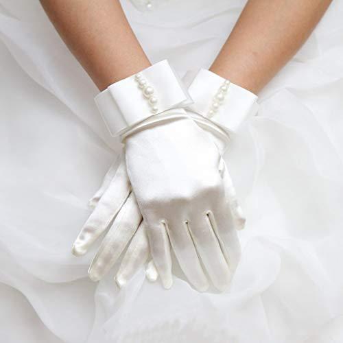 ジャッキー(1ペア)ウェディングエチケットグローブウェディングドレスアクセサリー-ホワイトレディースショートフルフィンガーズフェイクパールビーズブライダルウェディンググローブリボンサテン付き