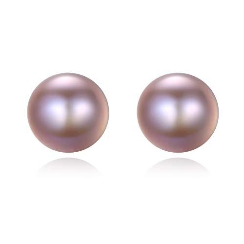 VIKI LYNN Damen-Ohrstecker Hochwertige Süßwasser-Zuchtperlen in ca. 7-8 mm Button weiß 925 Sterling Silber - Perlenohrstecker mit echten Lavendel Perlen