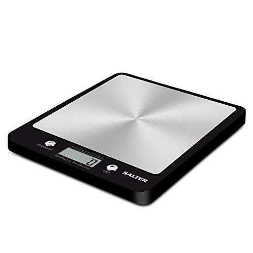 SALTER digitale keukenweegschaal, roestvrijstalen platform, groot display, aquatronic, weelfunctie, zwart