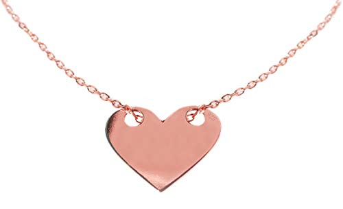 Ah! Jewellery Solid Heart Necklace. Finished in 18K Rose Gold Over Sterling Silver. Simple & Stunning! 1.5cm Pendant / 45cm Chain. Stamped 925. 10 Year Guarantee.