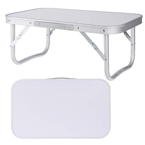 Campingtafel, klaptafel, tuintafel, balkon, bijzettafel, tuin, aluminium tafel, grijs, 56 x 34 x 24 cm