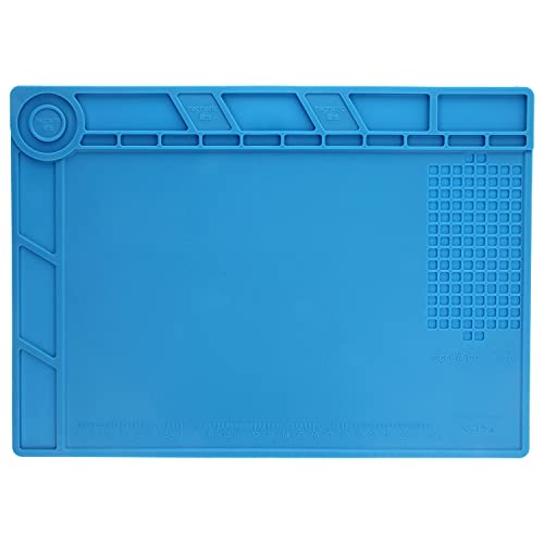 Minadax Esterilla de soldadura – hasta 500 °C – 34 cm x 25 cm | Ideal para soldar o reparar placas de circuito impreso | MX-S-140 | Antideslizante | Multifuncional