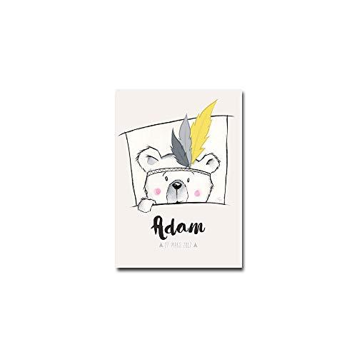 Affiche de naissance ourson mignon cadeau naissance personnalisé garçon décoration murale (21 x 29,7 cm)