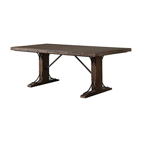 Furniture of America Charlie Solid Wood Dining Table in Rustic Walnut