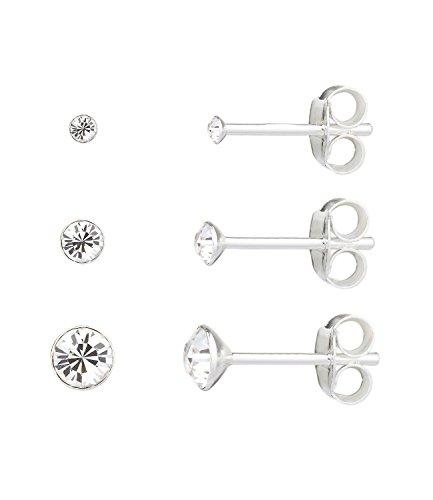 SIX 925er Silber Damen Ohrring, Ohrstecker, Set aus drei funkelnden Steckern in verschiedenen Größen (01-966)