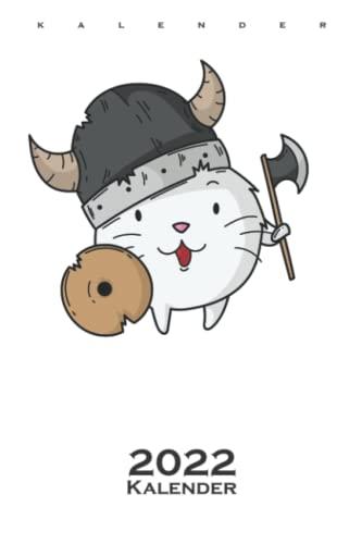 Katze mit Wikinger Helm Axt und Schild Kalender 2022: Jahreskalender für Fans der bärtigen Räuber mit rotem Haar