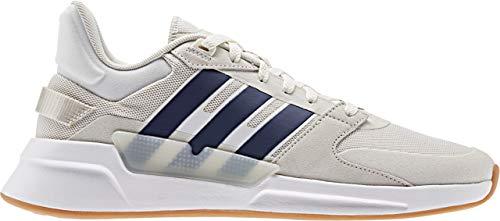 adidas Men's RUN90S Track Shoe, Cloud White/Dark Blue/raw White, 8.5 Standard US Width US