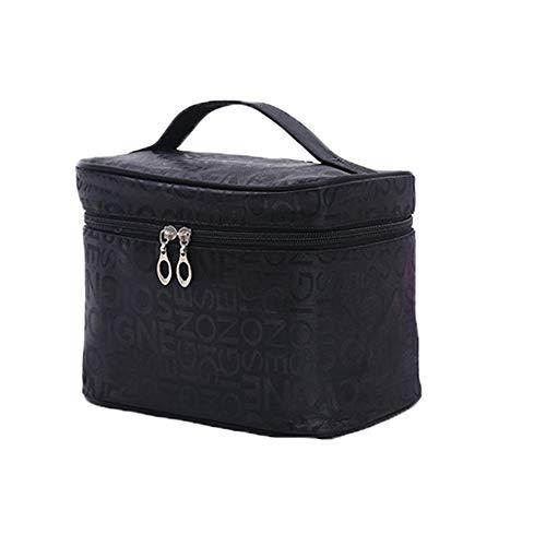 Sac de Voyage cosmétique Lettre Portable Sac cosmétique Grand Mignon Wash Voyage Sac cosmétiques Portable Sac de Rangement LINABIND (Color : Black, Size : Free Size)