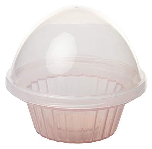 Zenker Cupcake-box CANDY, muffin kluis, opbergdoos voor kleine taartjes (op kleur gesorteerd: kap transparant, onderste deel lichtblauw, roze of crème), hoeveelheid: 1 stuk