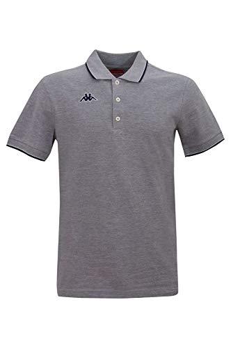 Kappa Herren Poloshirt Woffen mit Kontraststreifen, Gr. XL, grau