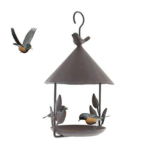 TentHome Vogelhaus Vogelfutterhaus zum Aufhängen Futterstation Vogelhäuschen Futterhaus Futterstelle Garten Deko Gusseisen Vogelstation Hängend