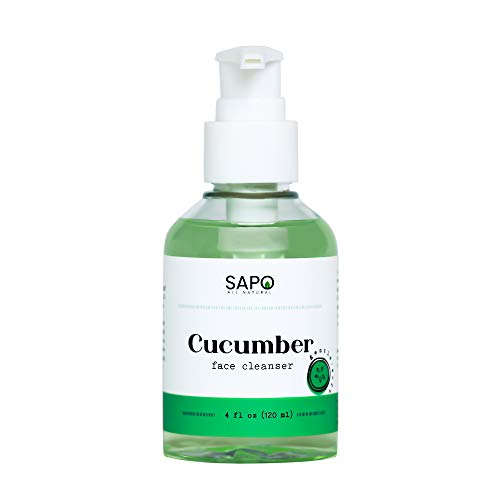 Cucumber Face Cleanser with Aloe Vera, Vitamin C, Vitamin E, Jojoba Oil and Cocoa Butter - A Moisturizing and Anti-Aging Face Wash That Rejuvenates and Repairs Your Skin - Sapo All Natural