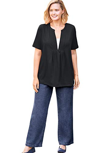 Woman Within Women's Plus Size Layer-Look Elbow-Sleeve Tee Shirt - 34/36, Black
